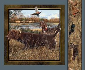 Wild Wings Dog Days 2 Brown Hunting Dogs Pheasant Fabric Pillow Panel