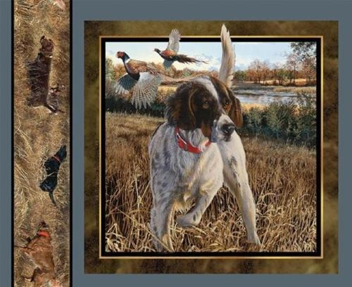 Wild Wings Dog Days Hunting Dog and Pheasants Fabric Pillow Panel