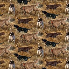 Wild Wings Dog Days Hunting Dogs in the Fields Pointers Cotton Fabric