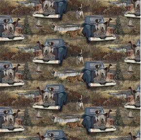 Wild Wings Dog Days Hunting Dogs Allover Hunt Pheasants Cotton Fabric
