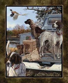 Wild Wings Dog Days Hunting Dogs Pheasants Large Cotton Fabric Panel