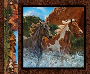 Picture of Wild Wings Rivers Edge 2 Horses Black Horse Cotton Fabric Pillow Panel