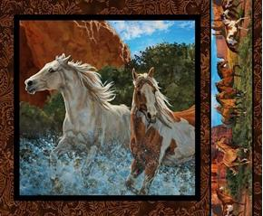 Picture of Wild Wings Rivers Edge 2 Horses White Horse Cotton Fabric Pillow Panel