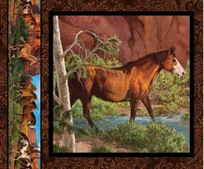 Wild Wings Rivers Edge Brown Horse Cotton Fabric Pillow Panel