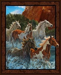 Wild Wings Rivers Edge Horses in Mountains Large Cotton Fabric Panel