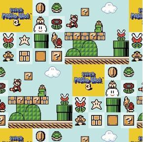 Picture of Nintendo Super Mario Brothers 3 Video Game Aqua Cotton Fabric