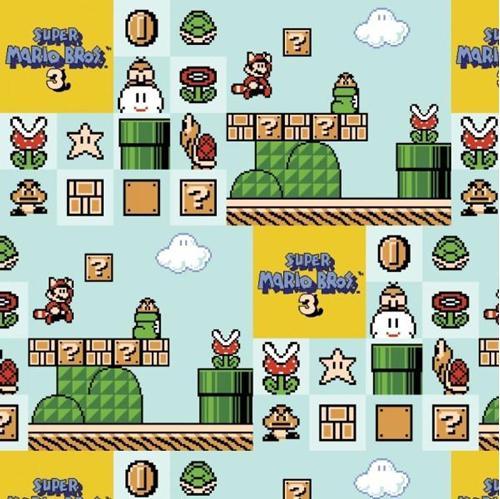Nintendo Super Mario Brothers 3 Video Game Aqua Cotton Fabric