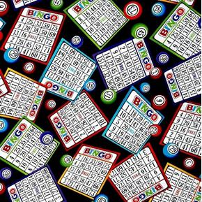 Picture of Bingo Cards and Number Markers on Black Cotton Fabric