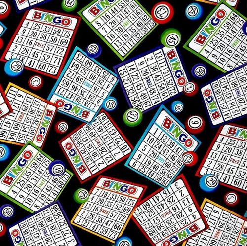 Bingo Cards and Number Markers on Black Cotton Fabric