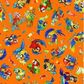Margaritaville Parrots Jimmy Buffet Style Orange Cotton Fabric