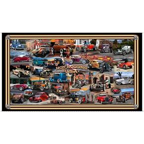 Artworks III Hot Rodding USA Vintage Cars 24x44 Cotton Fabric Panel