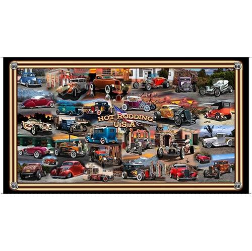 Picture of Artworks III Hot Rodding USA Vintage Cars 24x44 Cotton Fabric Panel