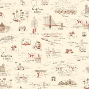 California Here We Come Travel Vignettes Ecru Cotton Fabric