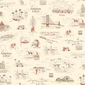 Picture of California Here We Come Travel Vignettes Ecru Cotton Fabric