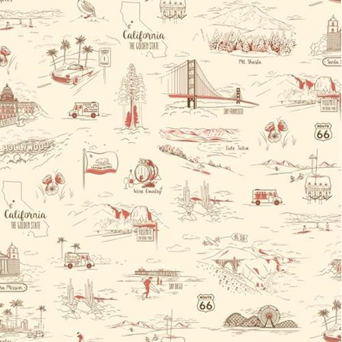 California Here We Come Travel Vignettes Ecru Cotton Fabric
