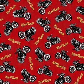 Biker For Life Motorcycle Toss Bikes on Red Cotton Fabric