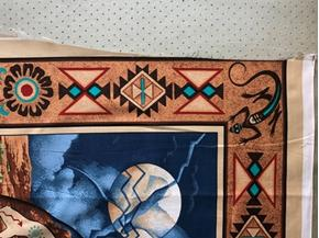 Picture of Imperfect American Indians and Horses Blue Large Cotton Fabric Panel B