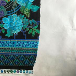 Picture of Imperfect Enchanted Plume Peacock and Flowers 24x44 Large Cotton Fabric Panel