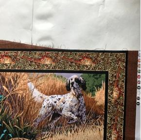 Picture of Imperfect Pheasant Hollow Hunting Dogs Large Cotton Fabric Panel