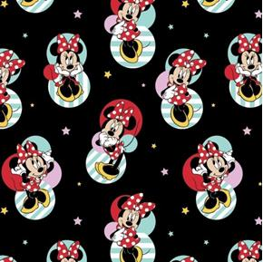 Disney Minnie Mouse Traditional Badges and Stars Black Cotton Fabric