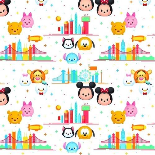 Disney Tsum Tsum Characters Travel City White Cotton Fabric