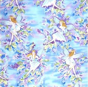 Fairies Pixies Fairy Glitter Purple Blue Metallic Cotton Fabric