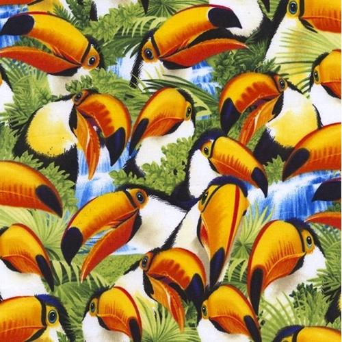 Toucan Selfies Packed Tropical Birds Toucans Cotton Fabric