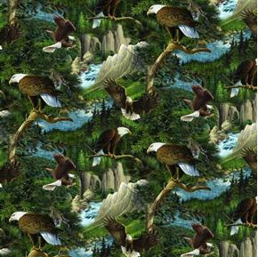 Wild Wings Flying High Eagles in Trees Bald Eagle Cotton Fabric