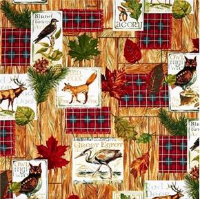 Fall Retreat Wildlife Patches Animal Plaques on Wood Cotton Fabric
