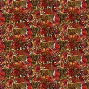 Wild Wings Amongst The Shadows Deer Scenic Fall Woods Cotton Fabric