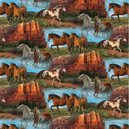 Wild Wings Rivers Edge Horse Scenic Horses in Mountains Cotton Fabric