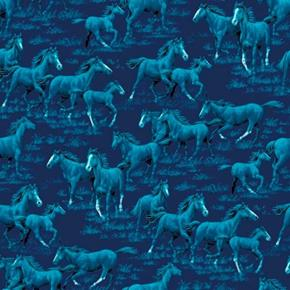 Horses Running Mother Foal Blue Horse on Blue Cotton Fabric