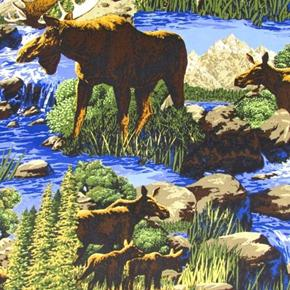Wild Frontier Moose in the Mountain Stream Cotton Fabric
