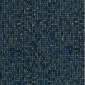 Silver Circuits Binary Solo Computer Code One Zero Blue Cotton Fabric