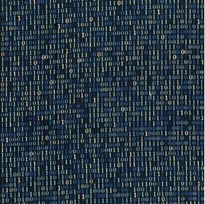 Picture of Silver Circuits Binary Solo Computer Code One Zero Blue Cotton Fabric