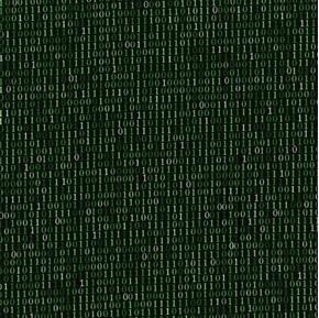 Silver Circuits Binary Solo Computer Code One Zero Green Cotton Fabric