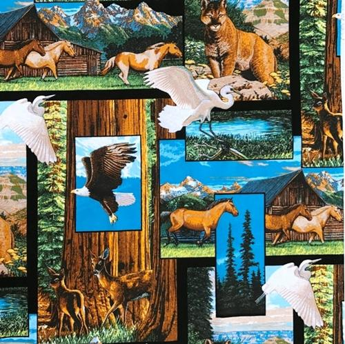 America The Beautiful Collage Scenic Cougar Eagle Deer Cotton Fabric