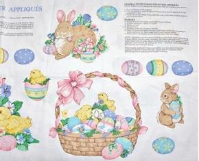 Spring Fever Easter Bunny Appliques 18x44 Cotton Fabric Craft Panel