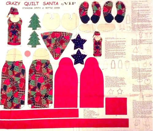 Crazy Quilt Standing Santa Bottle Cover Cotton Fabric Craft Panel