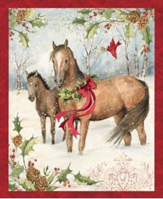 Picture of Christmas Horse Winter Holly Wreath Large Holiday Cotton Fabric Panel