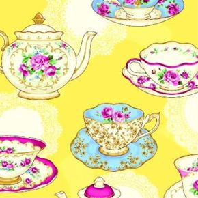 Ruru Bouquet Tea Party Fancy Teacups and Teapots Yellow Cotton Fabric