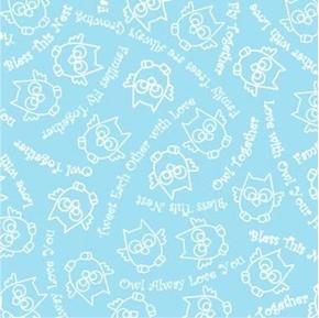 Owl in the Family Sketch and Words Bless This Nest Blue Cotton Fabric