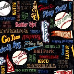 Grand Slam Everything Baseball Home Run Batter Up Black Cotton Fabric
