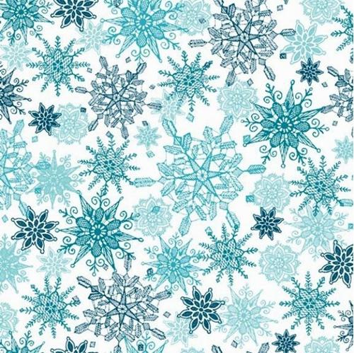 Winter Frost Snow Aqua and White Snowflakes White Cotton Fabric