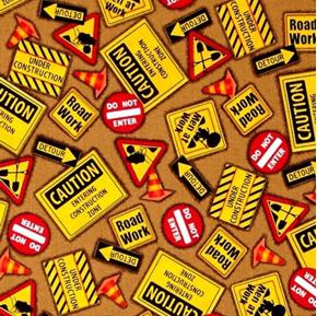 Dig It Construction Signs Men at Work Detour Brown Cotton Fabric