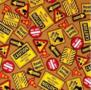 Dig It Construction Signs Men at Work Detour Brown Cotton Fabric