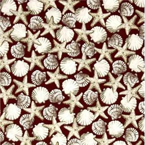 Seaside Beach Seashells Shell Toss Shells Starfish Red Cotton Fabric