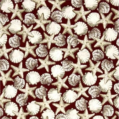 Seaside Beach Seashells Shell Toss Shells Starfish Red Cotton Fabric