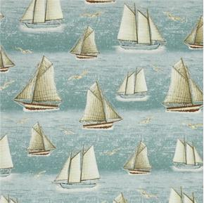 Picture of Seaside Sailboats and Seagulls Light Blue Cotton Fabric