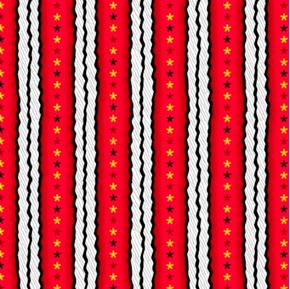 Peanuts Snoopy The Flying Ace Star Stripe Red Cotton Fabric